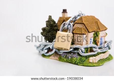 beautiful locked house on the white background - stock photo