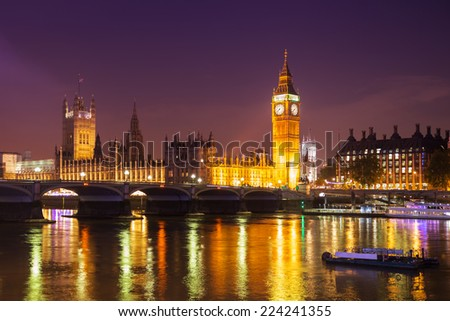 Beautiful London skyline with Big Ben and Thames in view - stock photo