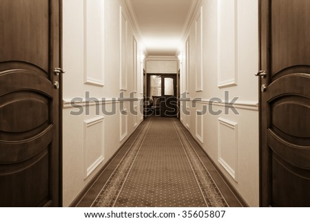 beautiful long corridor with a view of the room - stock photo