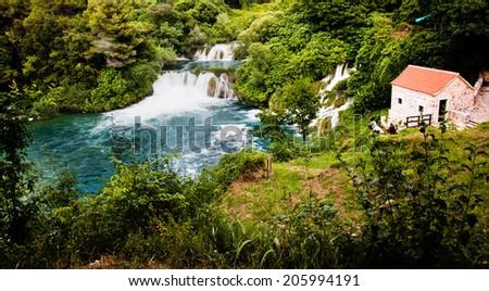 Beautiful long exposure panorama of waterfalls of the Krka river in Krka national park in Croatia - stock photo