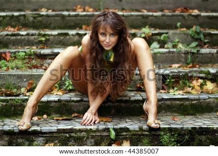 Beautiful long female legs - stock photo