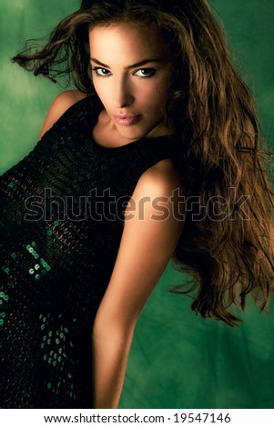 beautiful long hair woman, studio shot - stock photo