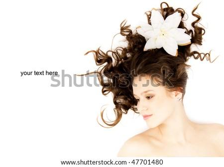 beautiful long-haired girl lying - stock photo