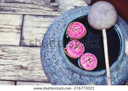 Beautiful lotus floating in a jar with dipper - stock photo