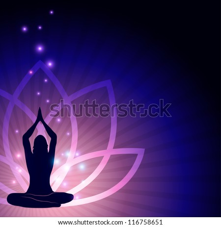 Beautiful lotus flower and woman in yoga pose in the front and sparkling lights. Beautiful harmonic colors. - stock photo