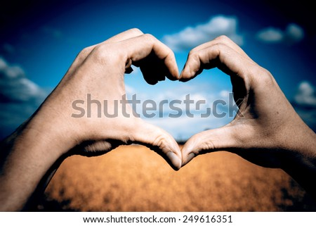 Beautiful Love shape hands - heart on yellow field and blue sky - love concept, st valentine's day - stock photo