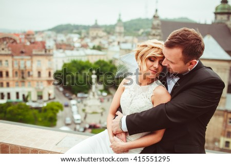 beautiful lovely couple enjoy each other - stock photo