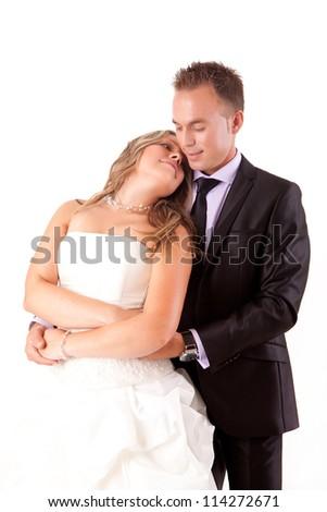 Beautiful loving couple on the wedding ceremony - stock photo