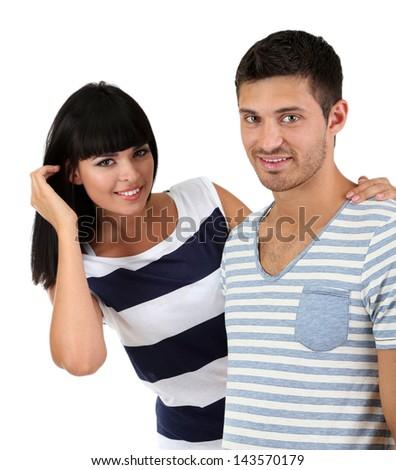 Beautiful loving couple together isolated on white - stock photo