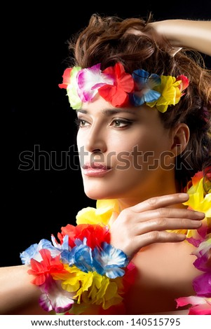 Beautiful Luau Party Girl. Hula Dance. - stock photo