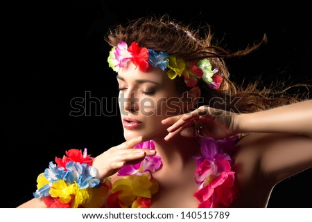 Beautiful Luau Party Girl. Hula Dance. Flying Hair - stock photo