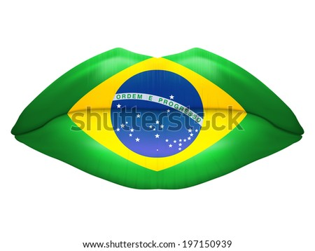 Beautiful luscious lips with flag of Brazil texture. Isolated on white background. Bitmap copy.