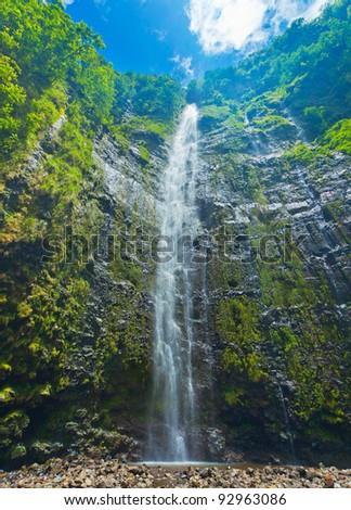 Beautiful Lush Waterfall in Hawaii - stock photo