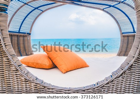 Beautiful Luxury deck with pillow on the beach and sea