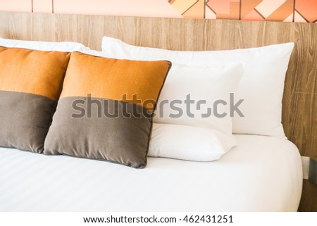 Beautiful luxury pillow on bed decoration in bedroom interior