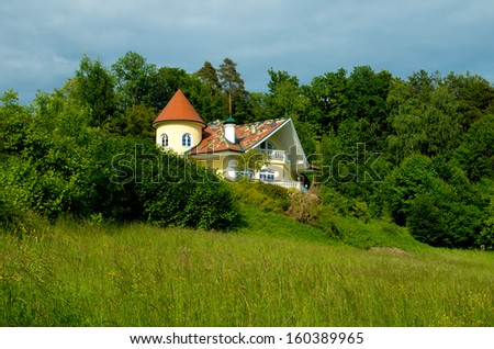 beautiful luxury villa in a natural surrounding - stock photo
