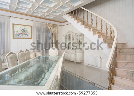 beautiful luxury white mansion interior - stock photo