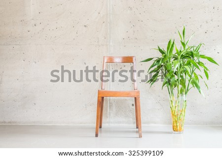 Beautiful luxury wooden chair decoration on empty wall with vase plant - stock photo
