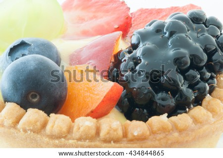 beautiful macro details of natural and tasty fruit cake - stock photo