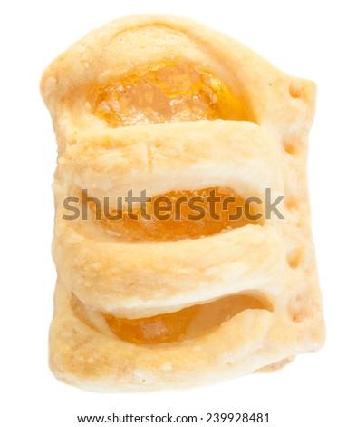 beautiful macro of apple strudel in studio - stock photo