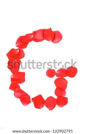 Beautiful  made from red Rose petals Letter isolated on a white background