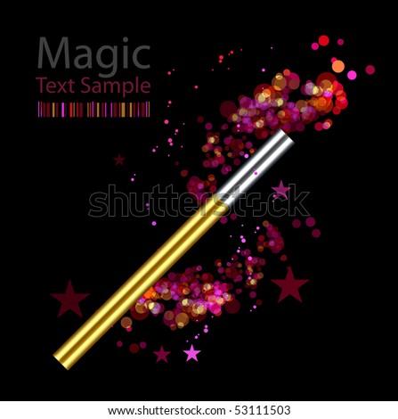 Beautiful magic background with wand - stock photo