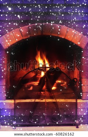 Beautiful magic fireplace in cold winter day