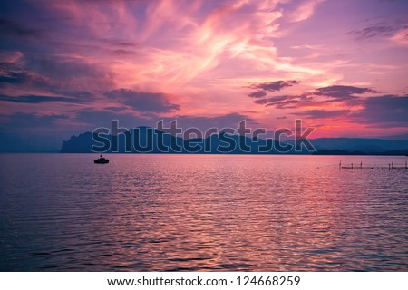 Beautiful magic sunset over the sea - stock photo