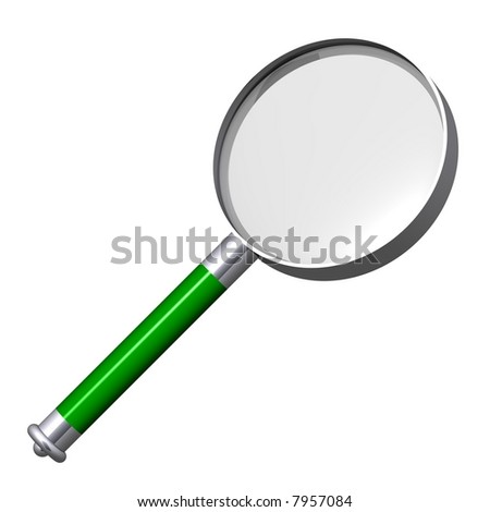 Beautiful magnifying glass isolated on white - stock photo