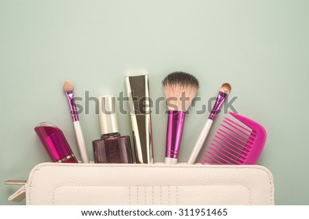 Beautiful make up bag with cosmetics