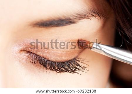 beautiful make up eyeshadow closeup - stock photo