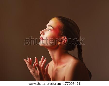 beautiful make up of bright lips, isolated on grey background - stock photo
