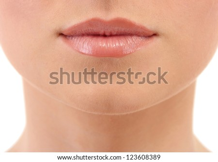 beautiful make up of gloss lips, close up - stock photo