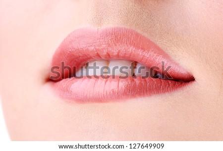 Beautiful make up of gloss lips, close up - stock photo