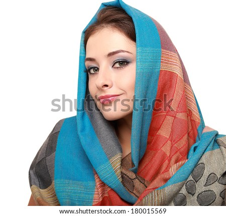 Beautiful makeup woman in colorful scarf isolated on white - stock photo