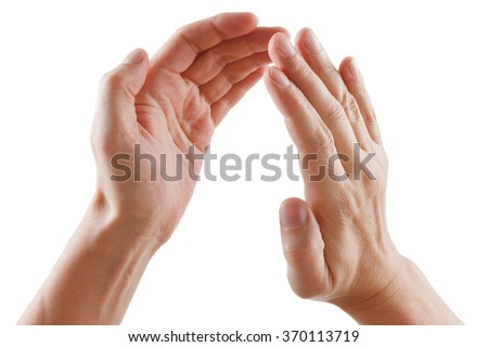 beautiful male hands isolated on white background giving applause - stock photo