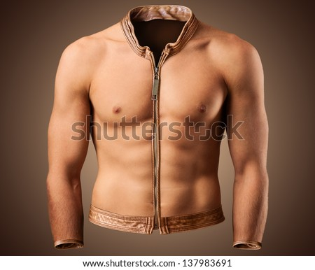 Beautiful male torso in shape of a jacket. Fitness - stock photo