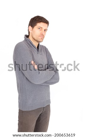 Beautiful man doing different expressions - stock photo