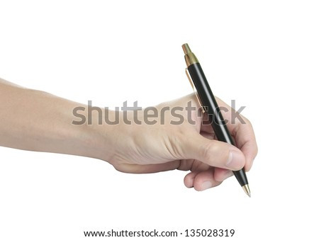 beautiful man hand with pen on white background, isolated