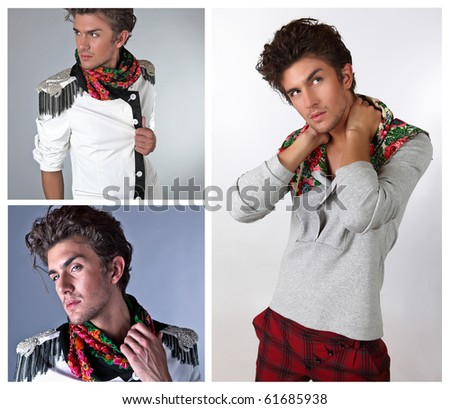 Beautiful man in exclusive design clothes on manners old-slavic. Ð¡ollage from 3 photos. - stock photo