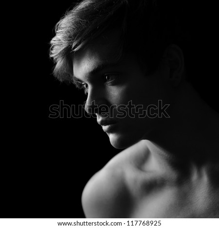 Beautiful man silhouette in Black & White - stock photo