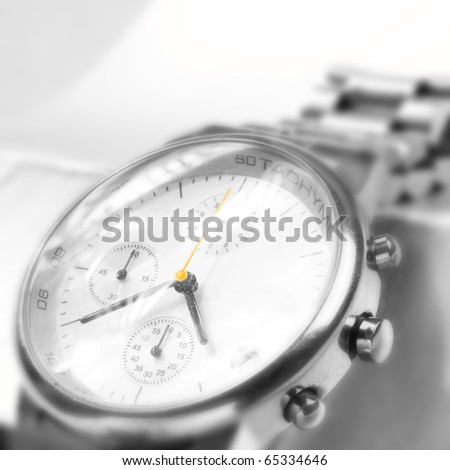 Beautiful Man watch with white background. Close up photo. - stock photo