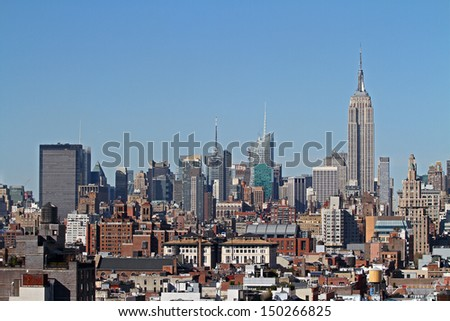 beautiful Manhattan skyline at daytime - stock photo