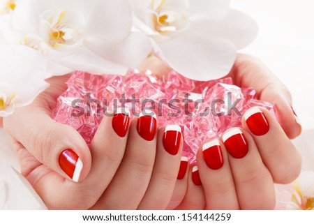 beautiful manicure nail salon - stock photo