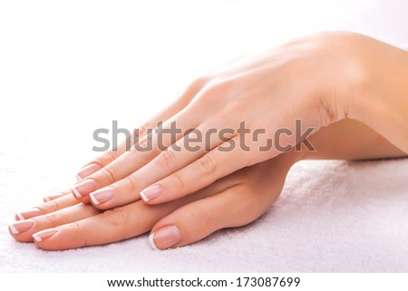 beautiful manicure on the white towel