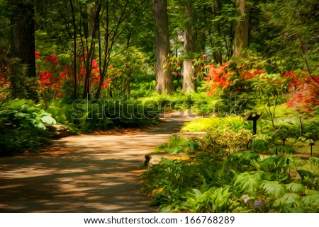 Beautiful manicured garden with a path lined with blooming azalea bushes. This photo has been given a Photoshop effect to make it look like an oil painting. - stock photo