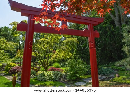 Beautiful manicured Japanese garden with mature Japanese Maple tree leaves in front of a Tori surrounding a pond with a wooden arched bridge and a stepping stone path. - stock photo