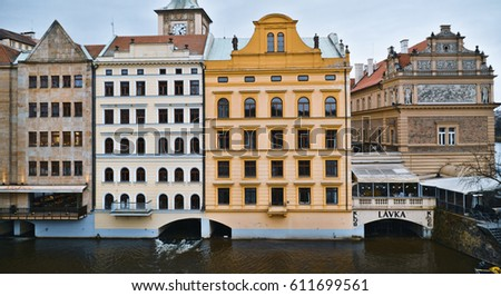 Beautiful mansions in Old Town of Prague - the historic district - PRAGUE / CZECH REPUBLIC - MARCH 19, 2017