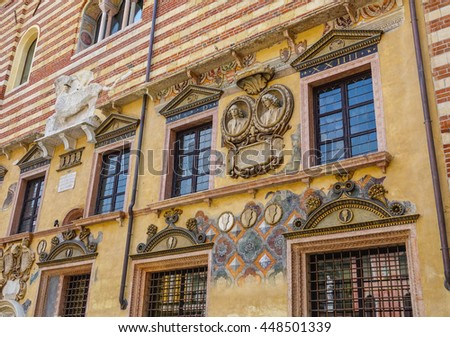 Beautiful mansions in Verona Italy - stock photo