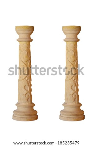beautiful marble column on a white background. Isolated - stock photo